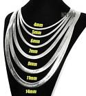 """NEW Herringbone .925 Silver Plated 4 to14mm wide 20"""" 24"""" 30"""" Chain Necklace image"""