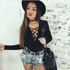 Ladies Sexy Leotard Tops Deep V Lace-up Tie Ribbed Jumpsuits Bodysuit Dress New