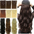 cheapest real full head clip in hair extensions straight curly wavy for human 4P