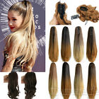 """2017 Ombre 20"""" Claw on Dip Dye Straight Curly Ponytail Pony Hair Extensions Tail"""