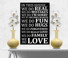 Family Wall Picture In This House Quote/Phrase BLACK Wall Canvas Print A3/A4