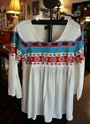 NWT AVANI DEL AMOUR BOHO HIPPIE COLORFUL EMBROIDERED IVORY TUNIC