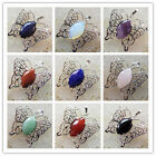 XJ-617 Excellent Silver Plated Wrapped Mixed Gemstone Butterfly Pendant Bead