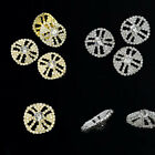 Silver/Gold Glass Rhinestone Round Shank Buttons Fit Sewing Craft Decor 4Pcs