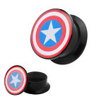 Piercing A Vite Tunnel Colorata Logo Star Dilatatore Orecchio Captain America