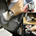 Fashion Stainless Steel Leather Band Women Men Sport Analog Quartz Wrist Watch C