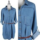 Junior Plus Size- Chambray 3/4 Roll Up Sleeve Tunic Belted Dress 1XL 2XL 3XL