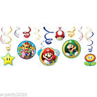 SUPER MARIO HANGING SWIRL DECORATIONS (12) ~ Birthday Party Supplies Nintendo