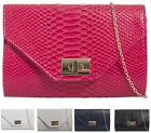 LADIES FAUX SNAKE LEATHER FLAP ENVELOPE SHOULDER EVENING HAND CLUTCH BAG