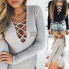 Women V neck Bodysuit Long Sleeve Rompers Ribbed Knitted Jumpsuits Leotard TXST