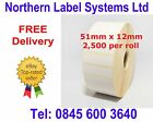 51mm x 12mm White Labels for Zebra, Citizen, Toshiba etc