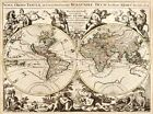 MP61 Vintage 1694 Historical Antique Map Of World Orbis Tabula Poster A1/A2/A3
