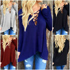Fashion Ladies V Neck Cross Lace-up Long Sleeve Tops Blouse Casual T Shirt Hot