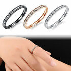Size4-7 Vintage Women's Wedding Ring Stainless Steel Crystal Zircon Band Rings