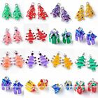 Silver Plated Enamel Crystal Christmas Tree Gift Charm Pendant Beads Findings