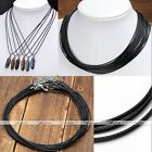 1.0/1.5/2.0mm Black Waxed Leather Braided Necklace String Cord Extender Chains