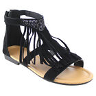FOREVER GB74 Women's Cut Out Flat Tassels Fringe Sandals New In Box