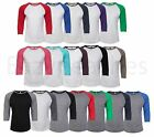 Bella + Canvas UNISEX 3/4 Sleeve Raglan Baseball T-Shirt Tri Blend Vintage Tee