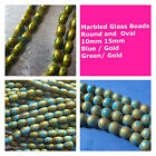 Marbled Glass Beads Round Oval Blue Green Gold 10mm 15mm Beading Supply