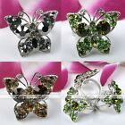 1x Silver Plated Crystal Butterfly Cocktail Adjustable Finger Ring Jewelry Gift