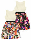 Girls Bright Floral Printed Party Dress New Kids Scuba Skirt Lace Party Dresses
