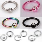 10pc Stainless Steel Czech Crystal Ball Hoop Cartilage Nose Captive Ring Punk