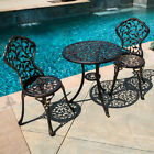 3pc Bistro Set In Antique Outdoor Patio Furniture Leaf Design Cast Aluminum New