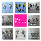 Key Charms Silver Gold Brass Plated Rose Heart Shull Peace Sign