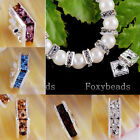 10X 6mm 8mm Square Silver Plated Crystal Loose Spacer Bead Jewelry DIY Making