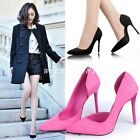 Womens Lady Faux Suede Pointed Toe Pump Club High Stiletto Heel Mary Jane Shoes