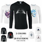 Colourful Skull Print Gildan Men Tee Cotton T-shirt Top Long Sleeve Crew Neck