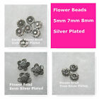 Spacer Beads Flowers 5mm 7mm 8mm Silver Plated Jewelry Beads
