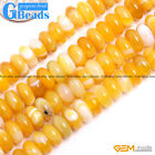 """Natural Yellow Agate Gemstone Rondelle Spacer Beads For Jewelry Making 15"""" GBead"""