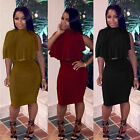 Elegant Women's Two Piece Bandage Cloak Tops Turtle Neck Pencil Skirt Dress Tide