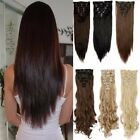 Real Natural Full Head Clip in on Hair Extentions Synthetic Remy Black Blonde