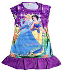 Snow White Cinderella Girls Children Kids Pyjama Nightwear Dress 3-10 Yrs Purple