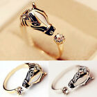 Gold/Silver Horse Head Animal Open Rings Crystal Women's Ring Fashion Jewelry