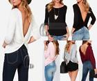 AU SELLER Women's Sexy Backless Cotton Long Sleeve Basic Top T-Shirt Tee T159