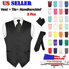 Men's Dress Vest NeckTie Hanky Solid Color Waiscoat Neck Tie Set Suit or Tuxedo