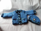 UNISEX .0/3 MONTH.CARDIGAN AND HAT. HAND KNITTED.PEACH. BLUE COLOR BABY CARDIGAN