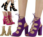 NEW WOMENS LADIES PEEPTOE HIGH BLOCK HEEL CUTOUT LACE UP ANKLE SANDAL SHOES SIZE