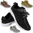 NEW LADIES GLITTER RUNNING TRAINERS WOMENS LACE UP FITNESS GYM SPORTS SHOES SIZE