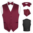 Men&#039;s Dress Vest BOWTie Hanky Solid Color Waistcoat Bow Tie Set Suit or Tuxedo <br/> Huge Selection Over 25 Solid Color Mens Formal Vest Set