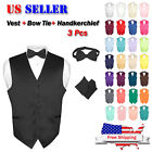 Men's Dress Vest BOWTie Hanky Solid Color Waiscoat Bow Tie Set Suit or Tuxedo