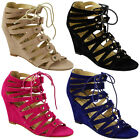 NEW WOMENS LADIES ANKLE STRAP LACE UP HIGH WEDGE HEEL PEEPTOE SHOES SANDALS SIZE
