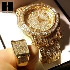 TECHNO PAVE ICED OUT 14K GOLD FINISHED LAB DIAMOND WATCH and RING#2 SET TP12G
