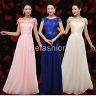 Women Girl Lace Chiffon  Evening Party Ball Prom Gown Wedding Bridal Long Dress