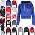 Womens Long Sleeve Cropped Top Ladies Pullover Plain Fleece Sweatshirt Hoody