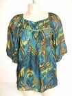 BNWT Monsoon 'Peacock'  Silk Top, Blouse Sz UK 8, EU 36 Kingfisher Blue