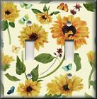 Floral Home Decor - Light Switch Plate Cover - Sunflowers And Butterflies